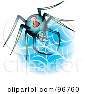 Royalty Free RF Clipart Illustration Of A Black Widow Spider On A Web Tattoo Design