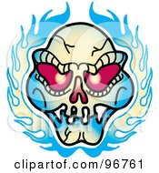 Red Eyed Evil Skull And Flames Tattoo Design