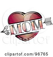 Royalty Free RF Clipart Illustration Of A Red Heart And Arrow Mom Tattoo Design by Andy Nortnik
