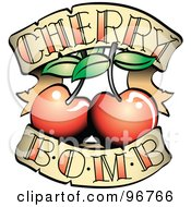 Royalty Free RF Clipart Illustration Of A Cherry Bomb Banner And Fruit Tattoo Design by Andy Nortnik