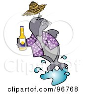 Royalty Free RF Clipart Illustration Of A Happy Seal Drinking Beer And Wearing A Purple Shirt by Andy Nortnik