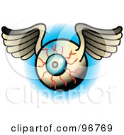 Royalty Free RF Clipart Illustration Of A Winged Bloodshot Eyeball Tattoo Design