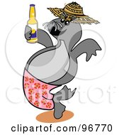 Royalty Free RF Clipart Illustration Of A Happy Seal Drinking Beer And Wearing Pink Shorts by Andy Nortnik