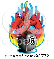 Royalty Free RF Clipart Illustration Of A Red Devil Holding A Cue Stick And Sitting On Top Of An Eight Ball In Front Of Flames by Andy Nortnik