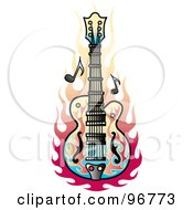 Royalty Free RF Clipart Illustration Of A Flame Guitar Tattoo Design