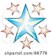 Tattoo Design Of Pink Stars Around A Blue Star