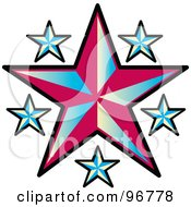Royalty Free RF Clipart Illustration Of A Tattoo Design Of Blue Stars Around A Red Star