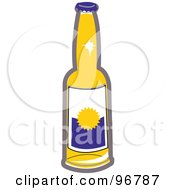Royalty Free RF Clipart Illustration Of A Clear Glass Bear Bottle With A Blank Label by Andy Nortnik