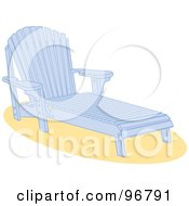 Royalty Free RF Clipart Illustration Of A Blue Wooden Beach Lounge Chair On Sand