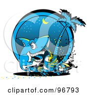 Royalty Free RF Clipart Illustration Of A Shark Parrot And Toucan Dancing At A Beach Party At Night by Andy Nortnik