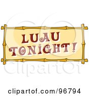Luau Tonight Sign With Bamboo Trim