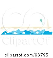 Royalty Free RF Clipart Illustration Of A Beach Website Header Or Border With The Surf Washing Up Near A Lighthouse On A Beach And A Kite In The Sky by Andy Nortnik