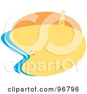 Royalty Free RF Clipart Illustration Of A Blue Surf Washing Onto A Golden Sandy Beach Near A Lighthouse by Andy Nortnik