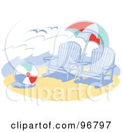 Royalty Free RF Clipart Illustration Of Blue Wooden Beach Chairs Under An Umbrella Near A Ball On The Sand by Andy Nortnik