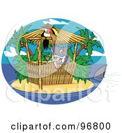 Royalty Free RF Clipart Illustration Of A Shark Serving Cocktails At A Tiki Bar On A Tropical Island by Andy Nortnik