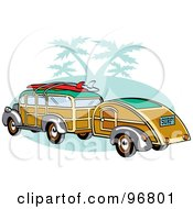 Royalty Free RF Clipart Illustration Of A Woody Sedan With Surfboards On The Roof Pulling A Trailer Over Green With Palm Trees by Andy Nortnik