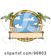 Royalty Free RF Clipart Illustration Of A Blank Sign With Palm Trees And Cloudy Skies by Andy Nortnik