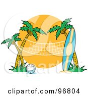 Royalty Free RF Clipart Illustration Of A Surfboard Leaning Against A Palm Tree Near A Beach Volleyball Net by Andy Nortnik