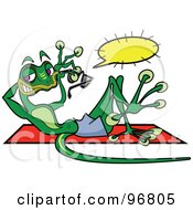 Royalty Free RF Clipart Illustration Of A Skinny Green Gecko Sun Bathing And Holding A Pair Of Shades With A Text Balloon by Andy Nortnik