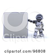 3d Silver Robot Holding Up A Blank Sign