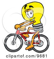 Light Bulb Mascot Cartoon Character Riding A Bicycle
