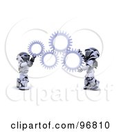Royalty Free RF Clipart Illustration Of 3d Silver Robots Holding Up Cogs
