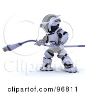 Royalty Free RF Clipart Illustration Of A 3d Silver Robot Pulling On A Blue Cable