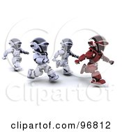 Royalty Free RF Clipart Illustration Of A 3d Red Robot Running In Front Of Other Robots by KJ Pargeter