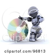 3d Silver Robot Rolling A Giant Cd Or Dvd