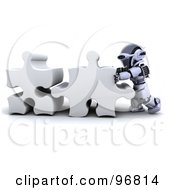 Royalty Free RF Clipart Illustration Of A 3d Silver Robot Connecting Puzzle Pieces