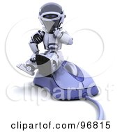 Royalty Free RF Clipart Illustration Of A 3d Silver Robot Sitting On A Large Computer Mouse
