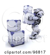 Royalty Free RF Clipart Illustration Of A 3d Silver Robot 3d Silver Robot Stacking Metal Boxes by KJ Pargeter