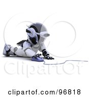 Royalty Free RF Clipart Illustration Of A 3d Silver Robot Using A Computer Mouse On The Floor