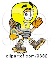 Light Bulb Mascot Cartoon Character Hiking And Carrying A Backpack