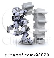 Royalty Free RF Clipart Illustration Of 3d Silver Robots Connecting Jigsaw Puzzle Pieces by KJ Pargeter