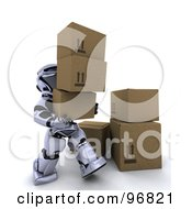 Royalty Free RF Clipart Illustration Of A 3d Silver Robot Carrying Cardboard Boxes by KJ Pargeter
