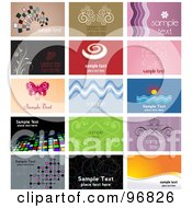 Digital Collage Of Floral And Ornate Themed Business Card Designs With Sample Text