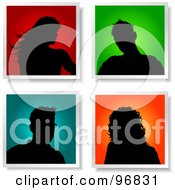 Royalty Free RF Clipart Illustration Of A Digital Collage Of Four Silhouetted Male And Female Avatars