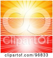 Royalty Free RF Clipart Illustration Of A Digital Collage Of Vibrant Yellow Orange And Red Sunburst Website Headers by KJ Pargeter