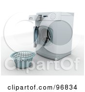 Royalty Free RF Clipart Illustration Of An Empty Laundry Basket In Front Of An Open Front Loader Washing Machine
