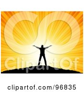 Royalty Free RF Clipart Illustration Of A Joyful Silhouetted Man Raising His Arms Against The Sunset On Top Of A Hill by KJ Pargeter