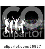 Royalty Free RF Clipart Illustration Of Young White Silhouetted People Dancing Over Sparkly Colorful Dots On Black