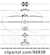 Royalty Free RF Clipart Illustration Of A Digital Collage Of Black And White Ornate Website Rule Dividers by KJ Pargeter