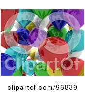 Royalty Free RF Clipart Illustration Of A Background Of A Crowd Of Colorful 3d Shiny Balloons by KJ Pargeter