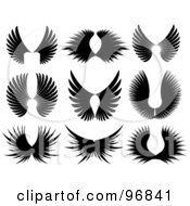 Royalty Free RF Clipart Illustration Of A Digital Collage Of Black Majestic Wing Silhouettes by KJ Pargeter