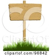 Royalty Free RF Clipart Illustration Of A Blank Wood Sign Posted In A Grassy Hill by KJ Pargeter