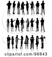 Royalty Free RF Clipart Illustration Of A Digital Collage Of Black Business People Silhouettes In Three Rows by KJ Pargeter