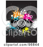 Royalty Free RF Clipart Illustration Of Three Speakers Over Grungy Splatters And Halftones On A Gray Background by KJ Pargeter