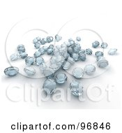 Royalty Free RF Clipart Illustration Of A Group Of 3d Diamonds With A Blue Hue by KJ Pargeter