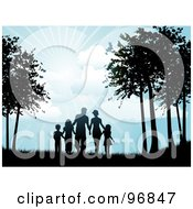Royalty Free RF Clipart Illustration Of A Silhouetted Black Family Holding Hands And Walking Through Trees Under The Shining Sun by KJ Pargeter